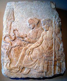 Asclepius (https://pinterest.com/pin/287386019946939750/), Hygieia (https://pinterest.com/pin/287386019948307767), and serpent.