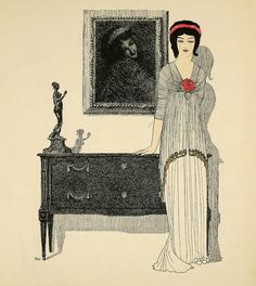 Art-Nouveau -styled fashion plates by French fashion designer Paul Poiret. Hand-stenciled pochoir prints by the artist Paul Iribe. 1908.