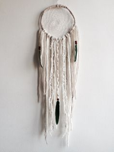 "Cream Dream Catcher 6"", DreamCatcher, Wall Hanging, Wall Decor, Boho Decor, Willow, Wool Art, Boho Wedding Decor, Wedding, Baby Shower"