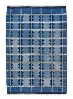 "Swedish handwoven wool carpet in ""rölakan"" flat weave technique with geometric pattern +"