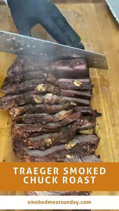Pellet Grill Recipes, Smoker Recipes, Grilling Recipes, Traeger Recipes, Smoked Meat Recipes, Smoked Chuck Roast, Chuck Roast Recipes, Smoker Cooking, Star Food