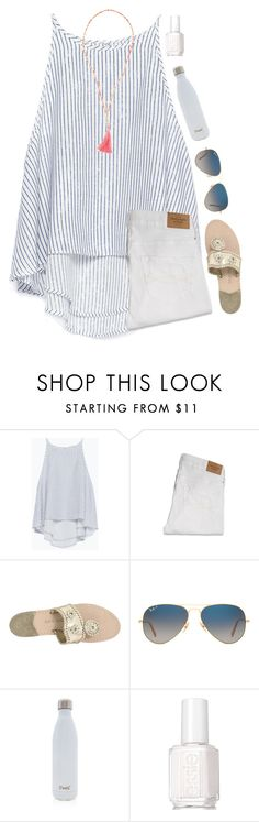 """{any good book recommendations?}"" by southerngirl03 ❤ liked on Polyvore featuring Zara, Abercrombie & Fitch, Jack Rogers, Ray-Ban, S'well, Essie and Olia"