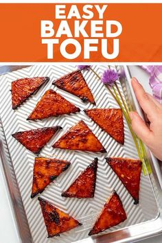 This super easy recipe from A Virtual Vegan makes delicious baked tofu that really delivers on flavour! Satisfy your sticky, delicious tofu cravings when you don't have time to press it or let it marinade for hours. This is a great way to make tofu for dinner that's super tasty and easy to make! #dinner #tofu #bakedtofu #vegan #recipe #dinneridea #baked Vegan Dinner Recipes, Tofu Recipes, Delicious Vegan Recipes, Vegan Dinners, Vegan Desserts, Tasty, Snacks Recipes, Asian Recipes, Watermelon Mint Salad