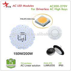 AC DOB 220v 5 years warranty IP65 CE SAA TUV 200W 150w driverless led UFO high bay light ac led module