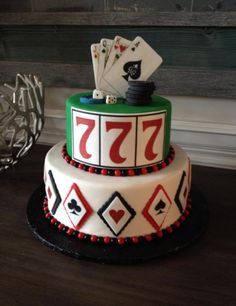Casino themed cake with edible images for details.