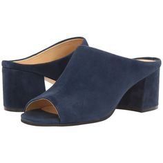 Ivanka Trump Evia (Dark Blue Suede) Women's Sandals ($99) ❤ liked on Polyvore featuring shoes, sandals, ivanka trump shoes, slip-on shoes, peep-toe mules, mule shoes and peep toe sandals