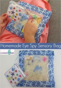 Eye Spy Sensory Bag – Keeping Kids Occupied in the Car How to make a homemade eye spy sensory bag Simple step by step instructions.How to make a homemade eye spy sensory bag Simple step by step instructions. Infant Activities, Preschool Activities, Dementia Activities, Sensory Bottles, Busy Bags, Toddler Fun, Sensory Play, Baby Sensory Bags, Activities For Kids