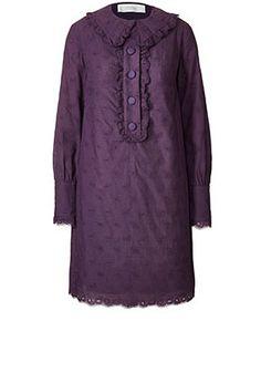 Paisley Cotton Beetle Collar Dress Aubergine