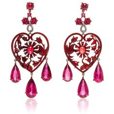 Lydia Courteille Scarlet Empress Collection Red Sapphire Earrings (1,300,870 DOP) ❤ liked on Polyvore featuring jewelry, earrings, sapphire earrings, sapphire jewellery, valentines day jewelry, 18k jewelry and earrings jewelry