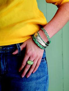 Layered look: $436 -- Minty Fresh Ring - R2864 - $69; 21-Bangle Salute - B0640 - $279; All Wrapped Up Bracelet - B2877 (2-6) - $44