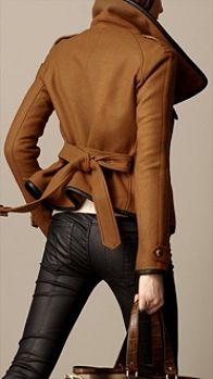 Burberry Leather Trim Blanket Wrap Jacket in Brown (dark camel) - Lyst Looks Street Style, Looks Style, Look Fashion, Winter Fashion, Womens Fashion, Moda Boho, Burberry Jacket, Mode Inspiration, Mode Style