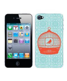 $10 Apple iPhone 4 4S Vinyl Decal Skin Sticker Cover Case - Orange Birdcage Hip on Blue and White Damask Modern Elegant Gift iPhone Skin