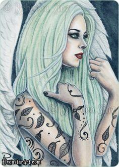 Mint Gothic Angel - ElvenstarArt by Rebecca Sinz
