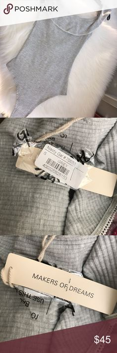 Nasty gal body suit Gray, nasty gal, body suit, scruffy shoulders, cute, has clips on private area, size small, new, with tags Nasty Gal Other