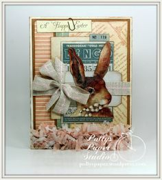 Vintage Inspired Bingo Rabbit Easter Greeting Card Handmade