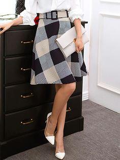 Navy Plaid Belt Tied Waist A Line Skirt   Choies