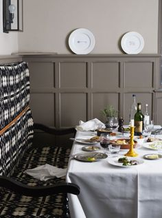color/texture inspiration: The Olde Bell Inn restaurant in London Coffee Shop Interior Design, Italian Interior Design, Pub Design, Small Cafe Design, Bar Interior, Restaurant Interior Design, Restaurant Furniture, Bar Furniture, Plywood Furniture