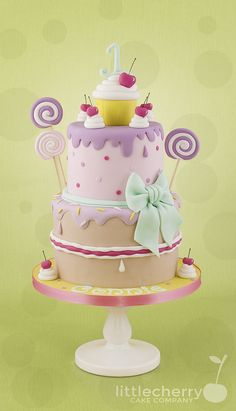 Girly lollipop cake - Cake by Little Cherry Candy Birthday Cakes, Candy Cakes, Birthday Cake Girls, Fondant Cake Designs, Fondant Cakes, Cupcake Cakes, Sweet Cakes, Cute Cakes, Gorgeous Cakes