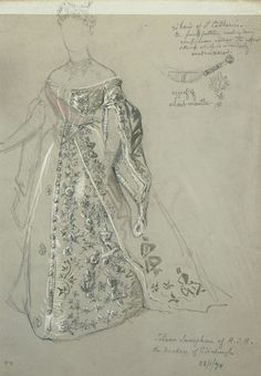 Nicholas Chevalier (1828-1902) - Full-length study of dress worn by the Duchess of Edinburgh, with detail of agraffe and star