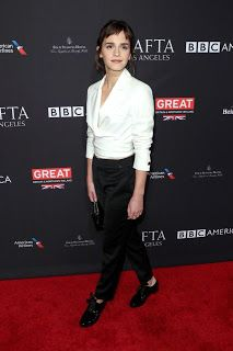 Emma Watson Emilia Clarke Sip and Smile at BAFTA Tea While Others Discuss Meaning of Black Dresses