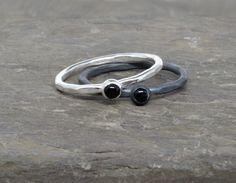 Get yourself grounded and you can navigate even the stormiest roads in peace.  (Steve Goodier)  Black Agate is said to be the stone of grouding and centering.   This listing is for one ring of your choice of stone.   I make each of these rings individually by hand from sustainably sourced 14 gauge sterlig silver.
