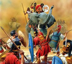 Defending against the war elephants of the Carthaginian army led by Hannibal - 2nd Punic War (218 - 201BCE)
