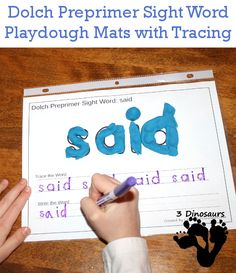 Free Dolch Preprimer Sight Words Playdough Mats with Tracing: all 40 words - 3Dinosaurs.com