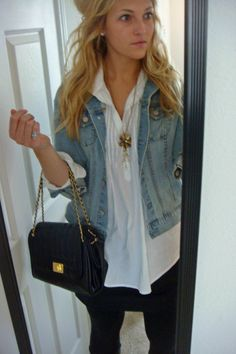 Jean Jacket outfit with:  - White cuffed shirt  - Black skirt  - Black leggings  - Long necklace