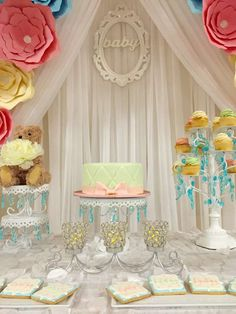 Lovely floral baby shower party! See more party planning ideas at CatchMyParty.com!