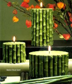 Commemorate one of the most exciting parts of your Holiday, the day you and your family get together a nice family night. Like a miniature bamboo tree ) Diy Candles Video, Homemade Candles, Candle Art, Beautiful Candles, Candle Making, Pillar Candles, Green Candles, Home Gifts, Diy And Crafts