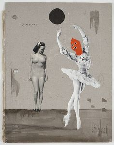 "Marcel Dzama – ""Front cover of untitled scrapbook"", Mine de plomb, encre, et collage sur papier) Collages, Collage Artists, Photomontage, Marcel, Illustrations, Illustration Art, Surface Design, Modern Art, Contemporary Art"