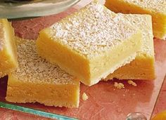 Power-Packed Lemon Bars-Vanilla protein powder and egg substitute make this recipe feel a little less guilty:)
