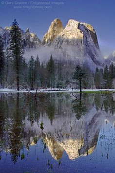 Reflection of Cathedral Rocks after a spring storm, Yosemite Valley, Yosemite National Park, California #reflection