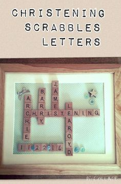 Christening Gift, Scrabbles in Frame. Look on Rell's Craft on Facebook.. Inbox if want order