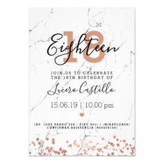 """debut ideas Elegant & simple Birthday Party"""" invitation design with Rose Gold Marble motif, and custom name and details text. Invitation Card Birthday, Invitation Card Design, Zazzle Invitations, Invitation Cards, Debut Invitation 18th, Vintage Birthday Invitations, Wedding Invitations, Invitation Ideas, Shower Invitations"""