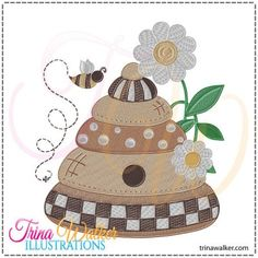 Busy Beehive 1 Machine Embroidery Design 4x4 & 5x7 http://trinawalker.com/shop/index.php?main_page=product_info&cPath=78_79&products_id=189