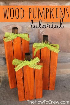 Wood Pallet Projects Cute Wood Pumpkins - Autumn is here, and it's time for fun DIY fall craft ideas! For many, there's no more lovely time of year than fall. See the best decorations and pick your favorite! Fall Projects, Diy Pallet Projects, Pallet Ideas, Craft Projects, Craft Ideas, Project Ideas, Pallet Wood, Pallet Benches, Pallet Couch
