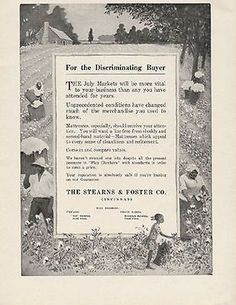 1918 Stearns Foster Mattress AD Picking Cotton Fields