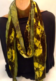 Silk velvet and organza scarf, hand-dyed and hand-sewn in tones of chartreuse and moss green by DonnaMarchettiDesign on Etsy