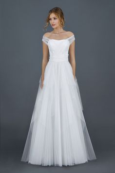 Sophisticated off-the-shoulder Atelier Eme wedding dresses
