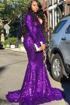 Long Sleeve Mermaid Sexy V-neck Purple Sequins Prom Dresses Cheap for Juniors ML13068 by moonlight, $147.44 USD