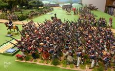 French on the attack, in column, on the wargaming table