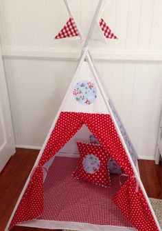 Fabric tepee in blue bird and red spot. Poles by NestNFeather 1st Birthday Presents, Kids Rooms, Blue Bird, Nest, Feather, Parties, Holiday Decor, Fabric, Home Decor
