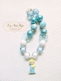 Frozen Princess Elsa Figure Inspired Chunky Bead Bubble Gum Necklace - Disney Princess Anna - Photo Prop Fashion Accessory