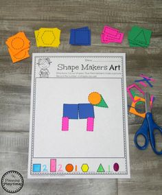Fun Composing Shapes Math Activity for Kindergarten Shape Activities Kindergarten, 2d Shapes Activities, Teaching Shapes, Shapes Worksheets, Kindergarten Activities, Fun Math, Preschool Activities, 2d And 3d Shapes, Shape Games