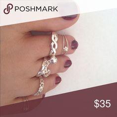 Sterling Silver Toe Rings Set of 5 toes rings Jewelry Rings