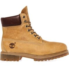 The Timberland Heritage 6 Premium Boot in Wheat Burnished Full-Grain ($180) ❤ liked on Polyvore featuring men's fashion, men's shoes, men's boots, men's work boots and wheat