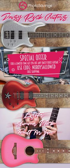 "*** No Boys Allowed*** Girls! Save big on Daisy Guitars! There is no deal available like this. Get off on any Acoustic or electric Daisy Rock Guitar when you apply the promo code ""NoBoysAllowed"" at checkout. Easy Guitar, Guitar Tips, No Boys Allowed, Electric Daisy, Guitar For Beginners, Acoustic, Guitars, Musicals, How To Apply"