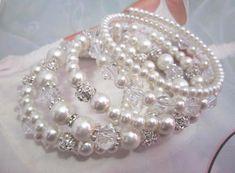 SLDesignsHBJ: Bridal stacked bracelets - still a hot fashion tre... Pearl Bracelet, Pearl Jewelry, Wedding Jewelry, Bridal Cuff, Wedding Bracelet, Swarovski, Bridal Accessories, Fashion Bracelets, Crystal Rhinestone