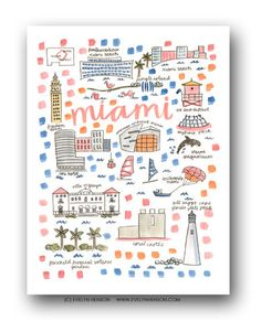 Miami Map Print Evelyn Henson Illustration